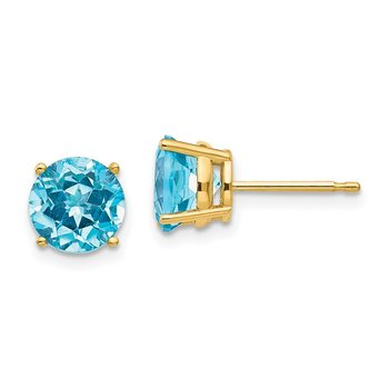 14k 7mm Blue Topaz Earrings