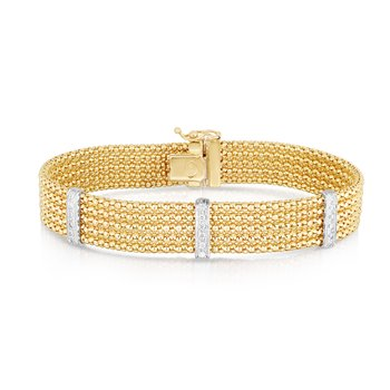14K Gold Triple Row Popcorn Diamond Bracelet