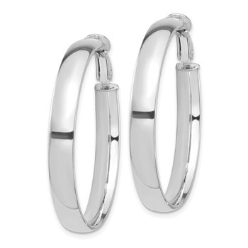 14k White Gold High Polished 5mm Omega Back Hoop Earrings