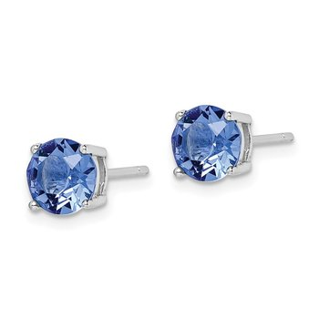Sterling Silver Rhod-pltd Blue Swar Crystl Birthstone Earrings