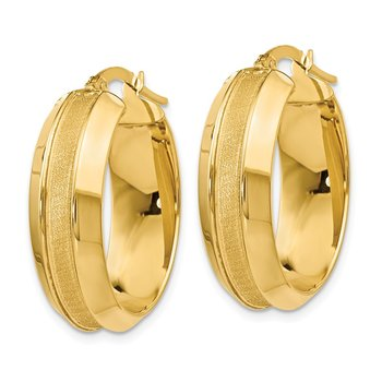 Leslie's 14k Polished and Brushed Oval Hinged Hoop Earrings