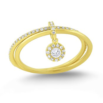 Diamond Lucky Charm Ring Set in 14 Kt. Gold