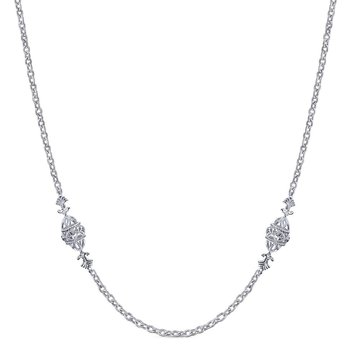 "32"" 925 Sterling Silver Station Necklace"