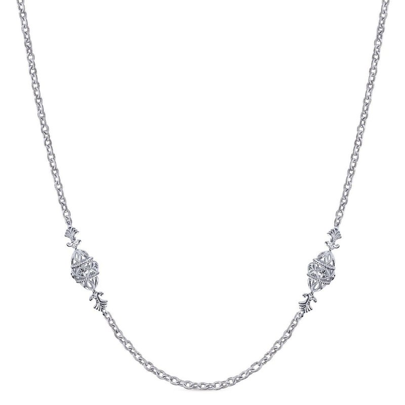 "Gabriel Fashion 32"" 925 Sterling Silver Station Necklace"