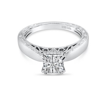 Filigree Solitare Diamond Engagement Ring