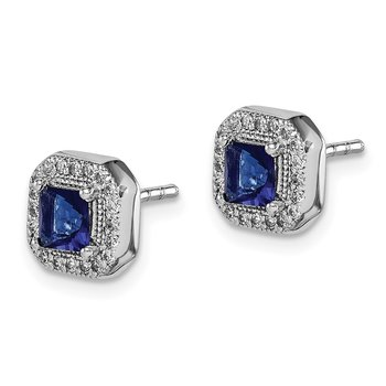 Sterling Silver Rhodium Plated Blue and Clear CZ Post Earrings
