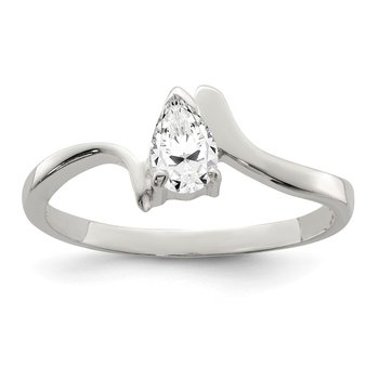 Sterling Silver Pear Shaped CZ Ring