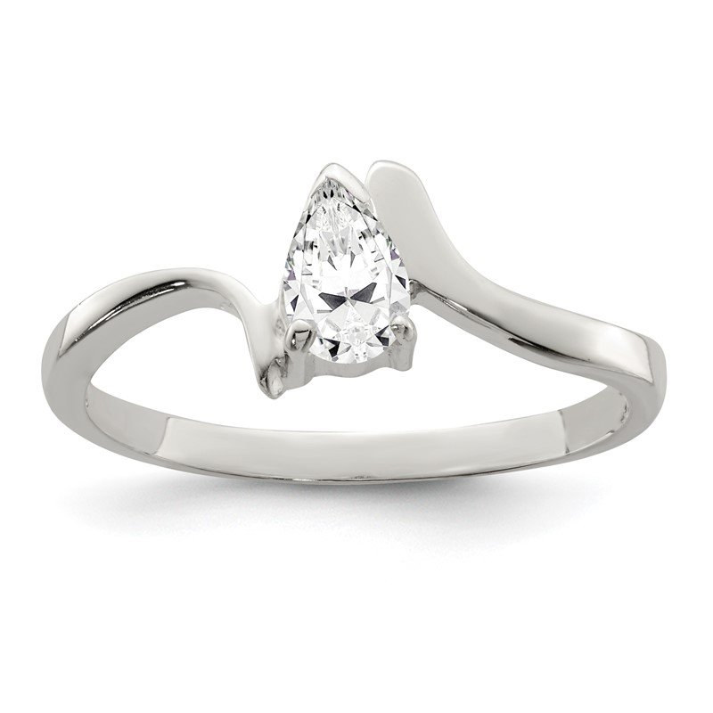Quality Gold Sterling Silver Pear Shaped CZ Ring
