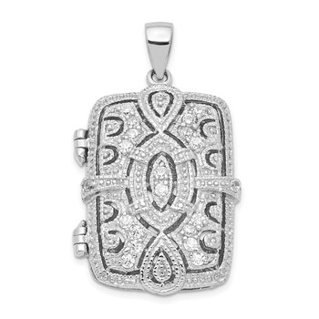 Sterling Silver CZ Oval Design Square Locket Pendant
