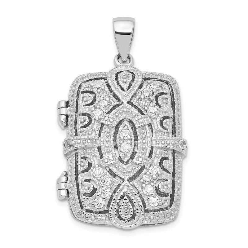 Quality Gold Sterling Silver Rhodium-plated Fancy CZ Rectangle 24mm Locket Pendant