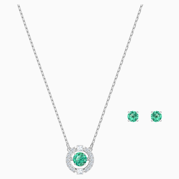 Swarovski Sparkling Dance Set, Green, Rhodium plated