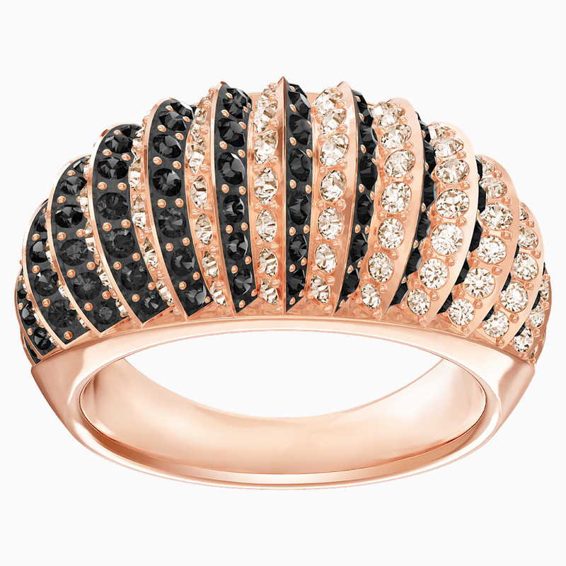 Swarovski Luxury Domed Ring, Black, Rose-gold tone plated