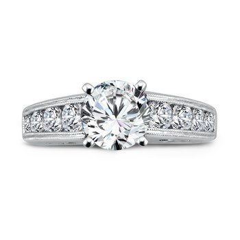 Engagement Ring With Side Stones in 14K White Gold with Platinum Head (1-1/2ct. tw.)