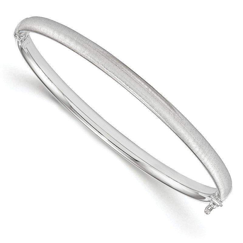 Leslie's Leslie's 14k White Gold Polished and Brushed Hinged Bangle