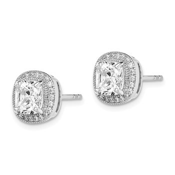 Sterling Silver Rhodium-plated 6mm CZ Halo Post Earrings