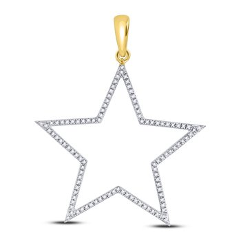 10kt Yellow Gold Mens Round Diamond Star Outline Charm Pendant 1/3 Cttw