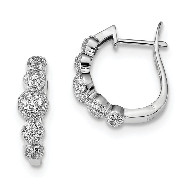 925 Sterling Silver Rose-tone Polished CZ Butterfly Hinged Hoop Earrings