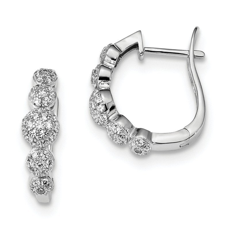 Quality Gold Sterling Silver & CZ Brilliant Embers Hinged Hoop Earrings