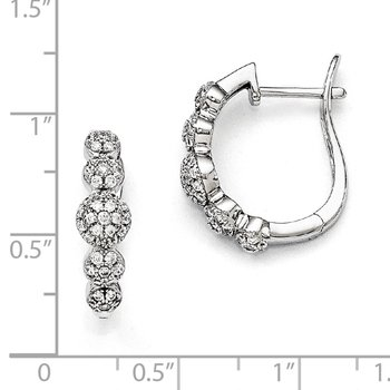 Sterling Silver & CZ Brilliant Embers Hinged Hoop Earrings