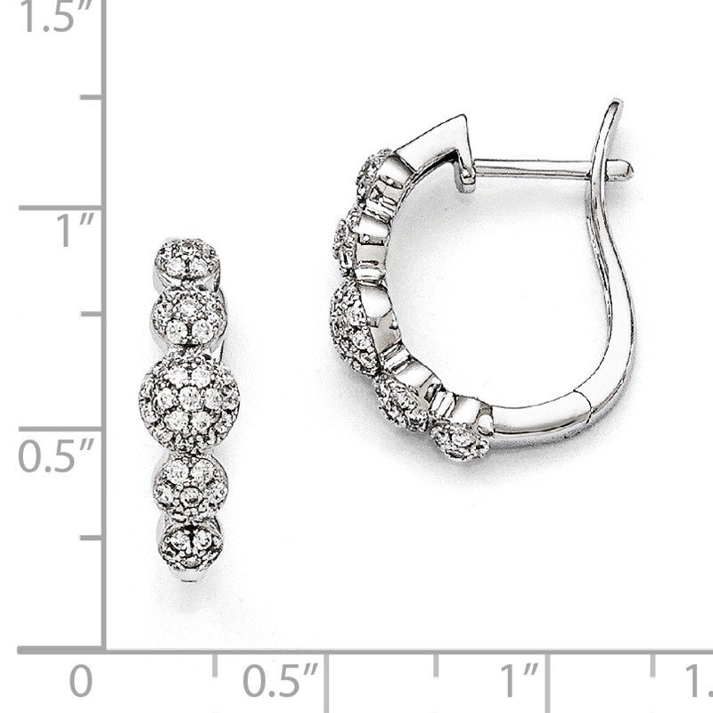 Quality Gold Sterling Silver Brilliant Embers Rhodium-plated CZ Hinged Hoop Earrings
