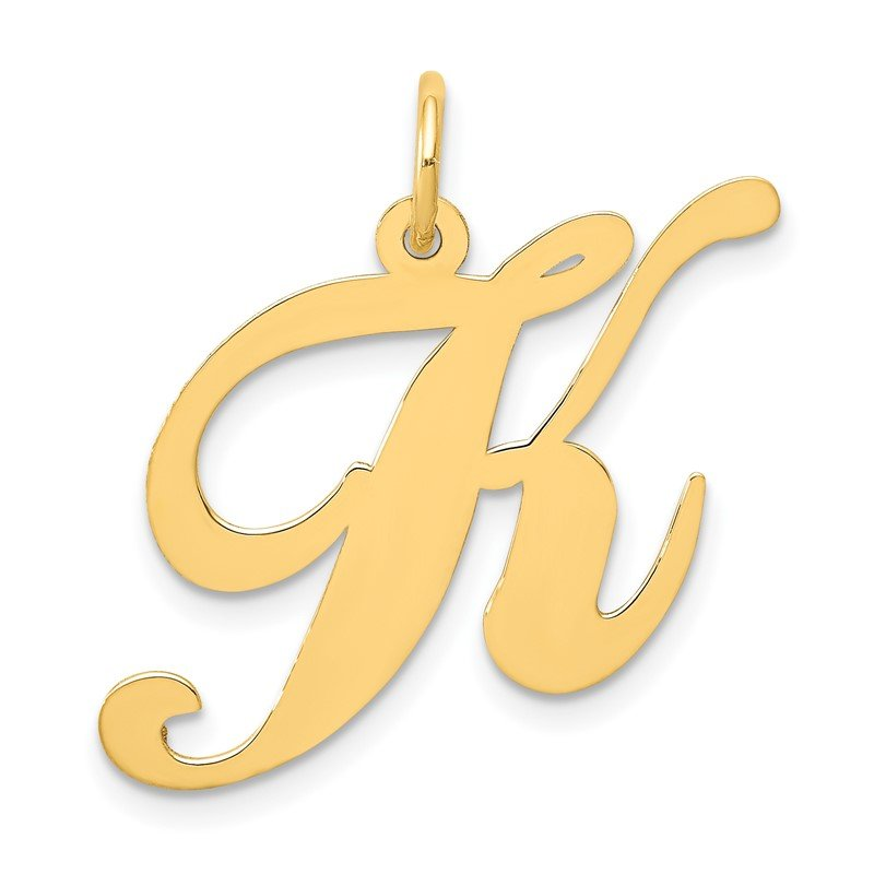 Quality Gold 14k Large Fancy Script Letter K Initial Charm