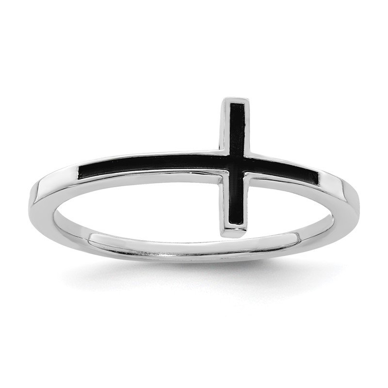 Quality Gold Sterling Silver Antiqued Sideways Cross Ring