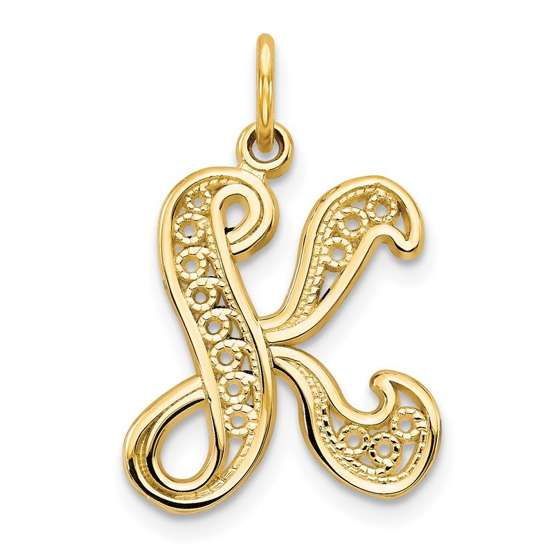 Arizona Diamond Center Collection 14KY Polished Script Filigree Letter K Initial Pendant