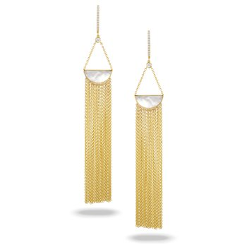 White Orchid Tassle Dangle Earrings 18KY