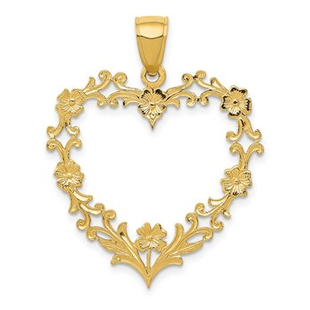 14K Polished Floral Border Heart Pendant