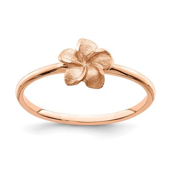 14k Rose Brushed & Polished D/C Plumeria Ring