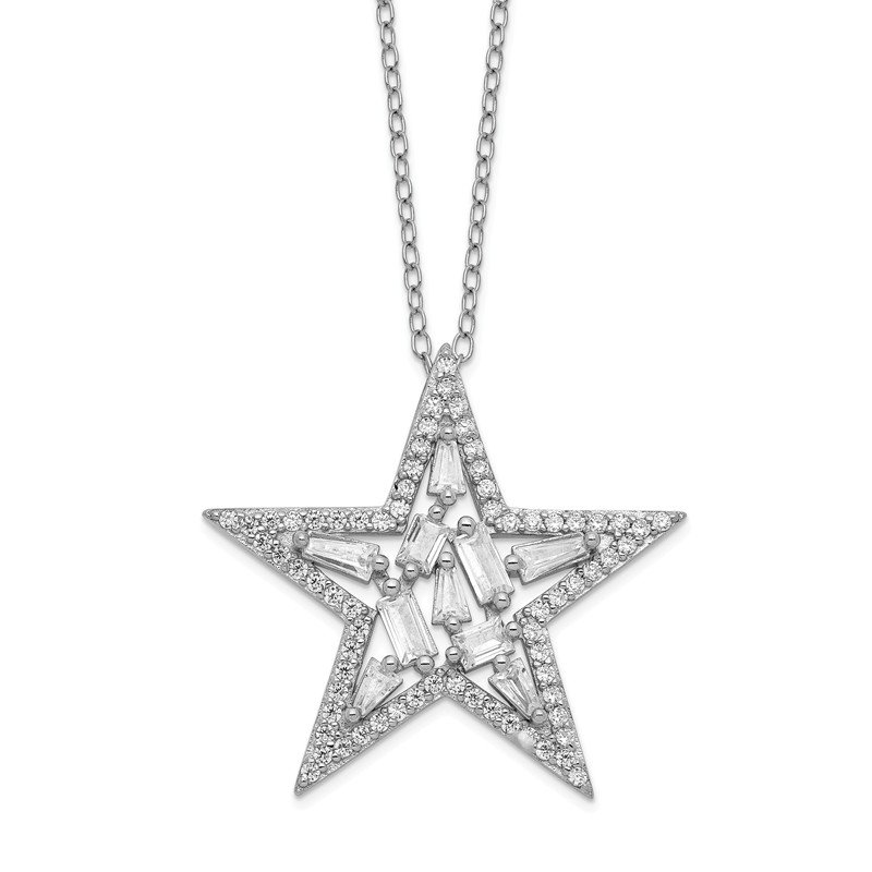 Cheryl M Cheryl M Sterling Silver Rhodium Plated CZ Cluster Star 18in Necklace