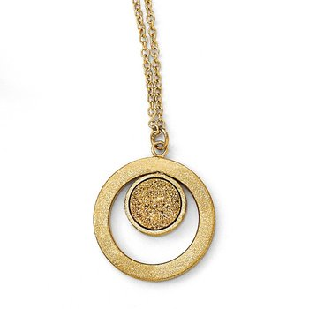Leslie's 14k Scratch Finish Round with Yellow Druzy Post Dangle Necklace