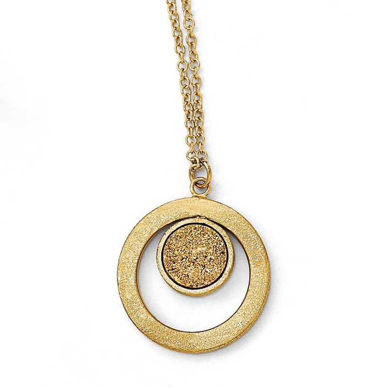 Leslie's Leslie's 14k Scratch Finish Round with Yellow Druzy Post Dangle Necklace
