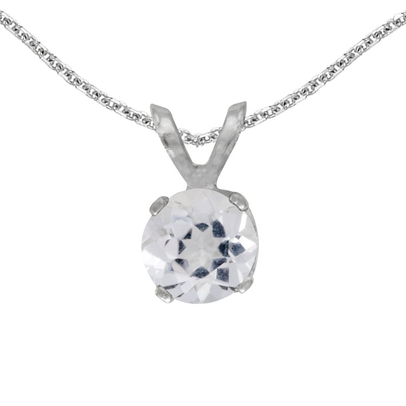 Color Merchants 14k White Gold Round White Topaz Pendant