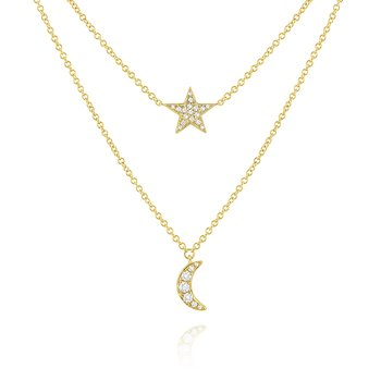 14k Gold and Diamond Moon and Star Layer Necklace