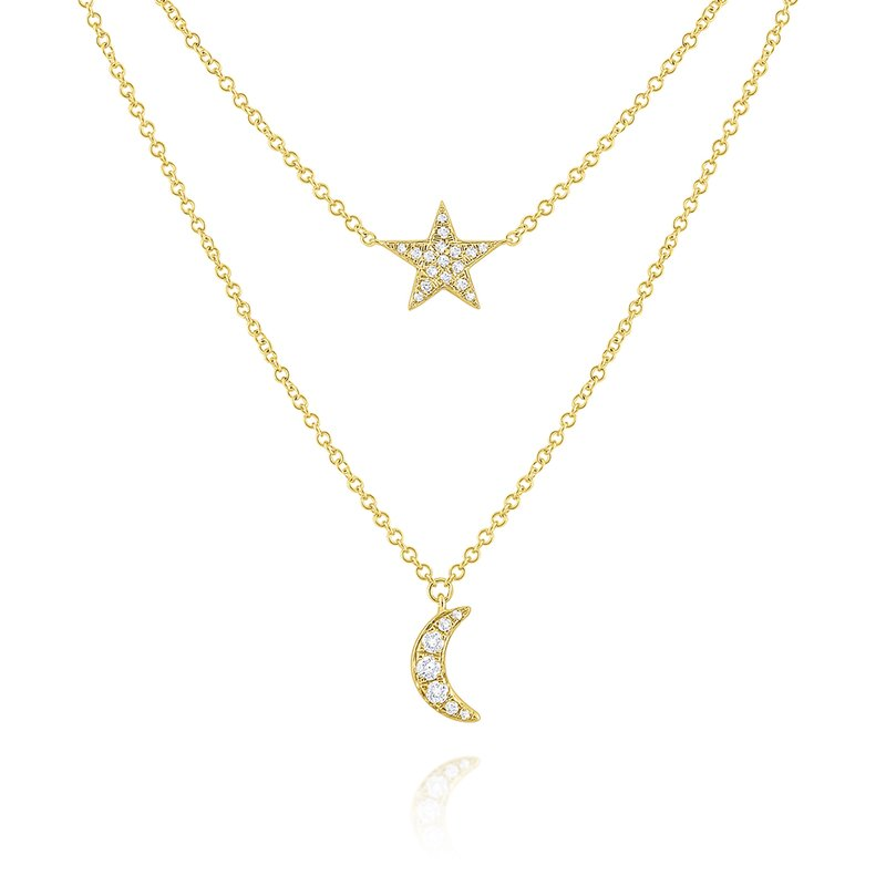 KC Designs 14k Gold and Diamond Moon and Star Layer Necklace