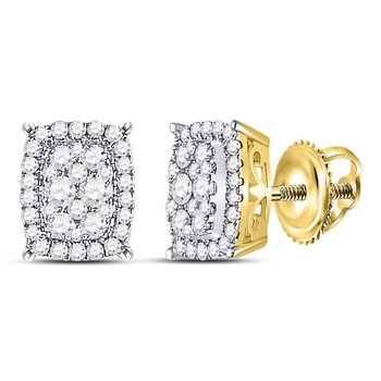 14kt Yellow Gold Womens Round Diamond Vertical Rectangle Cluster Earrings 1/2 Cttw
