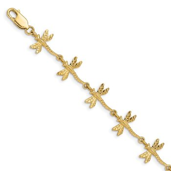 14k Polished and Textured Dragonfly 7.5 inch Bracelet