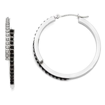14k White Gold Diamond Fascination B & W Diamond Round Hinged Hoop Earrings