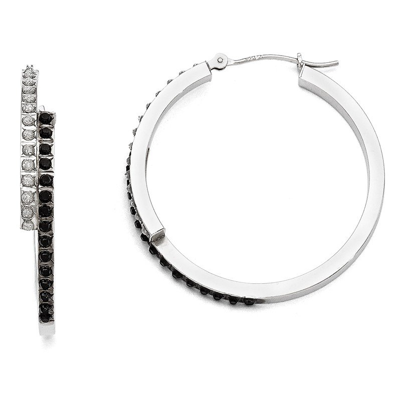 Quality Gold 14k White Gold Diamond Fascination B & W Diamond Round Hinged Hoop Earrings