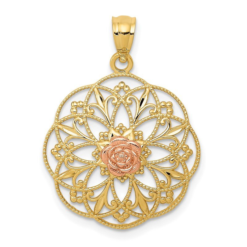 Quality Gold 14k Yellow and Rose Polished Rose in Round Filigree Charm