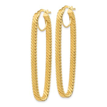 14K 4x17mm Cascade Polished OvalHoop Earrings