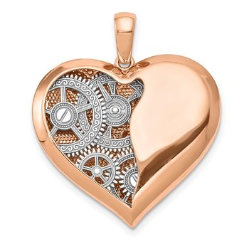 14K Two-tone Polished Reversible Gears inside 3D Heart Pendant