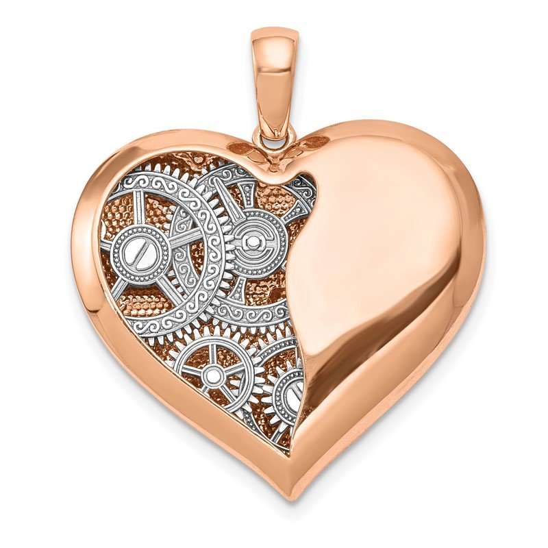 Quality Gold 14K Two-tone Polished Reversible Gears inside 3D Heart Pendant