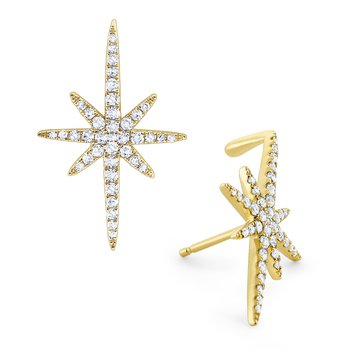 Diamond Starburst Cliffhanger Earrings Set in 14 Kt. Gold