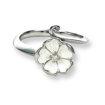 White Rose Ring.Sterling Silver-White Sapphire