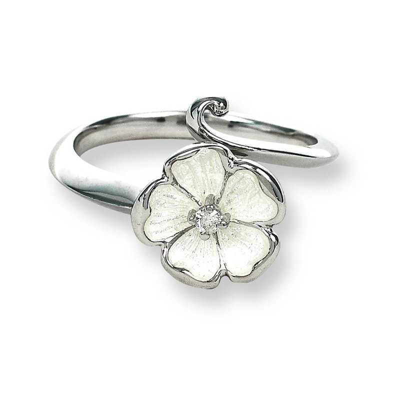 Nicole Barr Designs White Rose Ring.Sterling Silver-White Sapphire