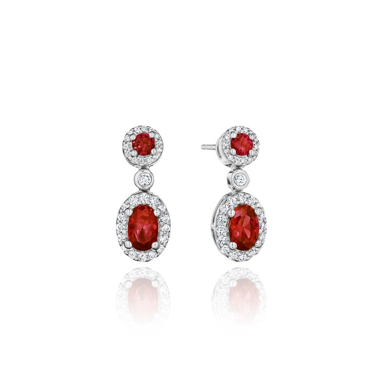 Fana Set the Scene Ruby and Diamond Dangle Earrings