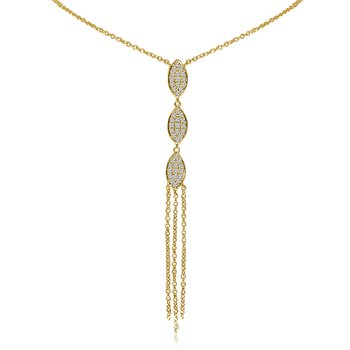 14k Yellow Gold 3 Leaf Diamond Necklace