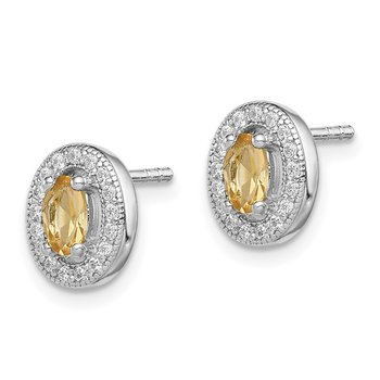 Sterling Silver Rhod-plated Yellow and White CZ Oval Stud Earrings